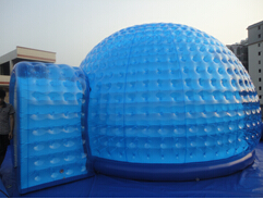 Promotional inflatable igloo dome with tunnel door