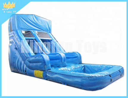 Wet slide with pool
