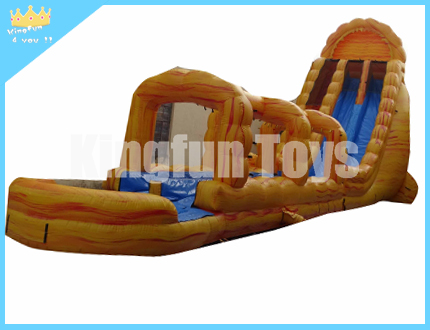 Yellow fire inflatable water slide