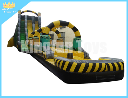 Wet/dry toxic slide with pool